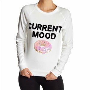 "Bow & Drape White ""Current Mood"" Sweatshirt Small"